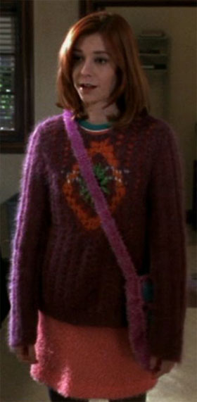 Willow in a fuzzy purple sweater